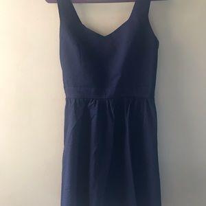 Navy Blue sear-sucker sweet heart neck dress